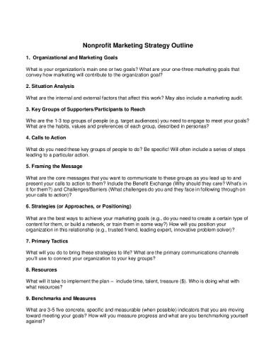 nonprofit marketing plan example