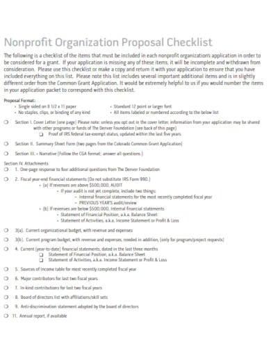 nonprofit organization proposal checklist
