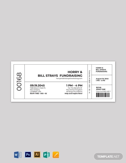 numbered fundraiser ticket template