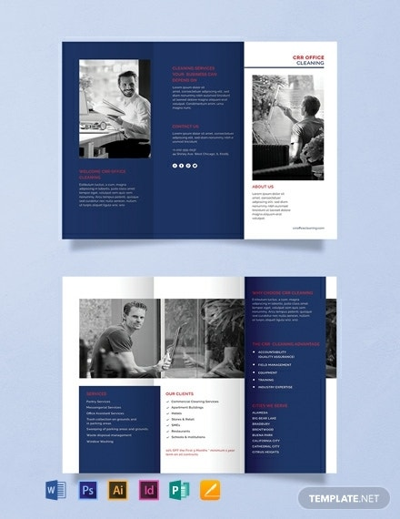 office cleaning company tri fold brochure
