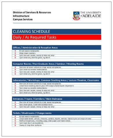 office daily cleaning schedule in pdf