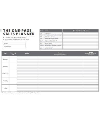 one page sales planner
