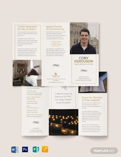 order of service funeral program tri fold brochure template