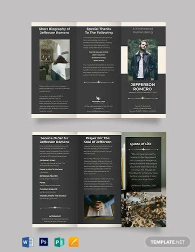 order of service eulogy funeral tri fold brochure template