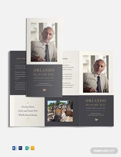 order of service funeral mass tri fold brochure template
