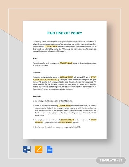 paid time off policy pto template