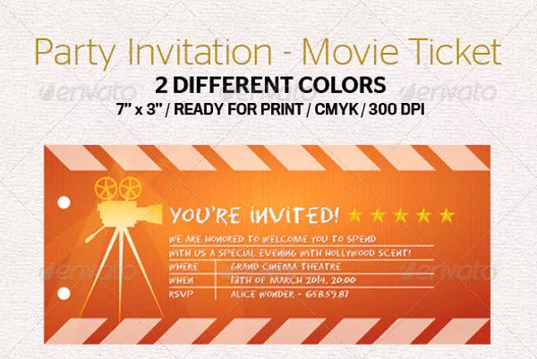party invitation movie ticket template