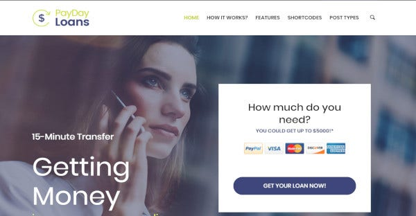payday loans drag and drop wordpress theme