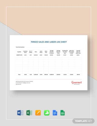 period sales and labor log sheet