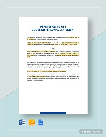 permission to use quote or personal statement template