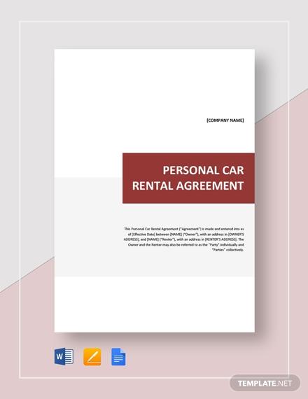 personal car rental agreement 2