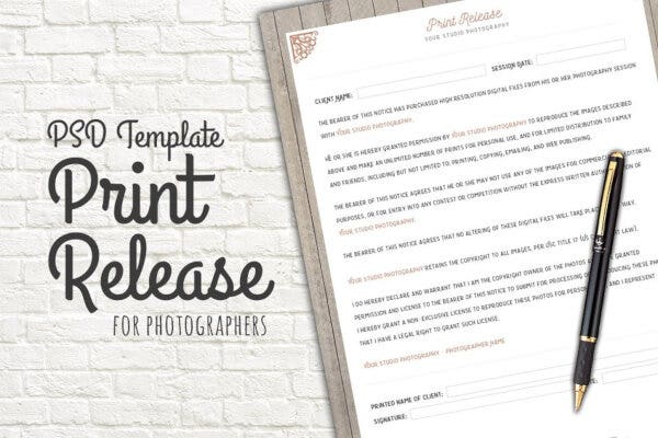 photo print release permission form template