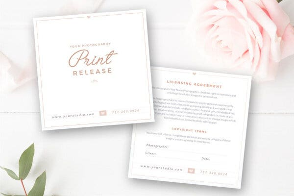 photographer print release consent template