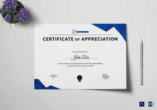 physical fitness appreciation certificate template