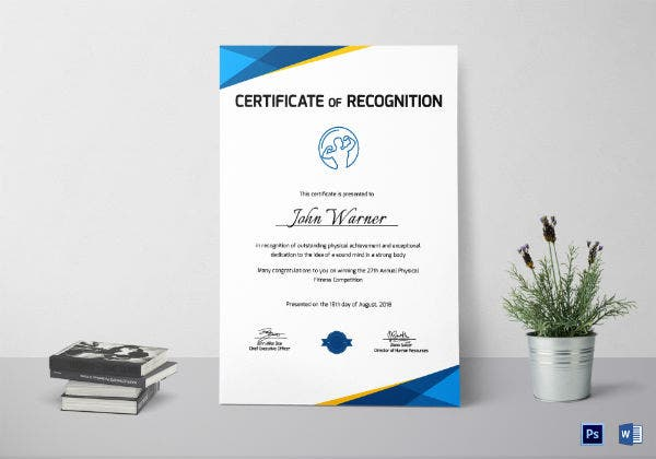 physical fitness recognition certificate template