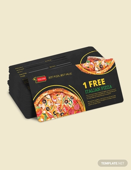 pizza restaurant coupon card layout