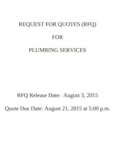 plumbing service quotation template
