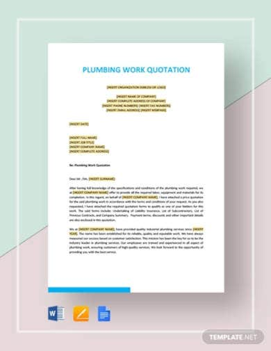 plumbing work quotation template
