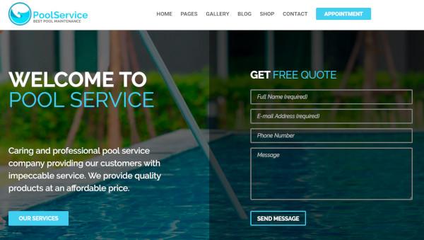 pool service gpl unyson framework wordpress theme