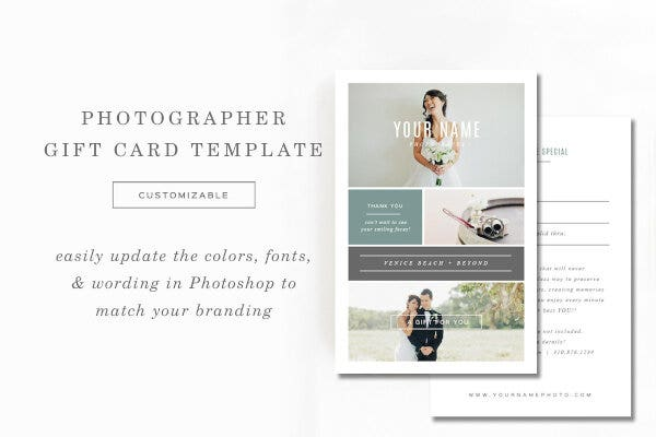 portrait photography gift card template