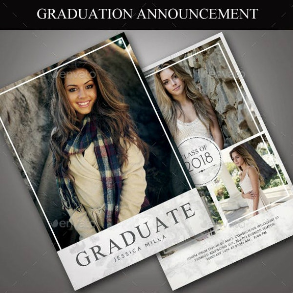 portrait style graduation announcement template