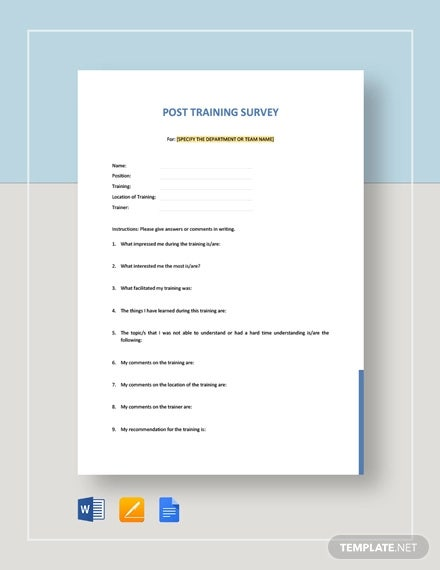 post training survey template