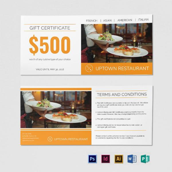 premium restaurant gift certificate template