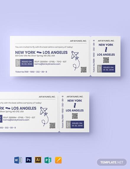 printable airline ticket invitation format