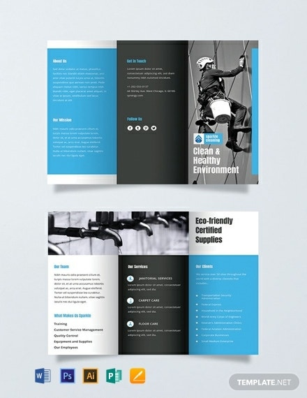 printable cleaning business brochure layout