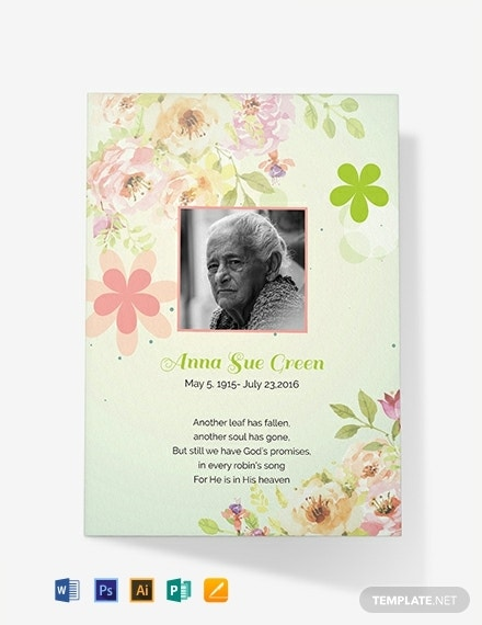 printable funeral prayer card template