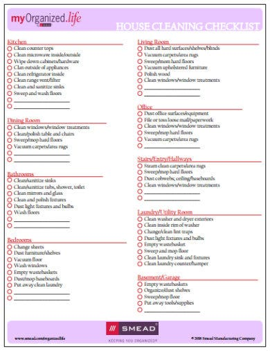 photo regarding Printable House Cleaning Checklist named Excellent Property Cleansing Listing Templates - Google Docs, MS