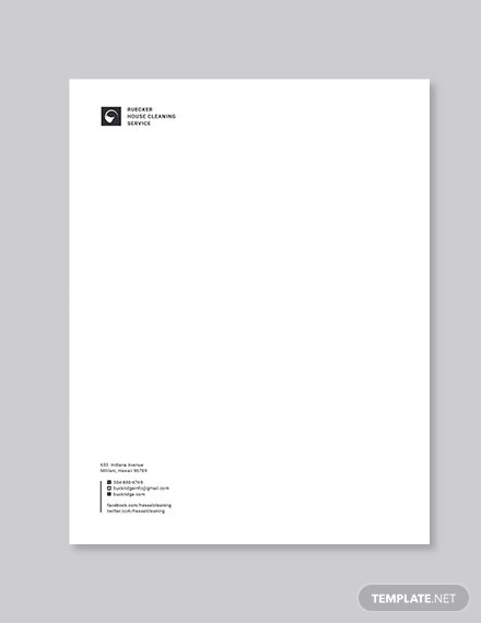 printable house cleaning letterhead example