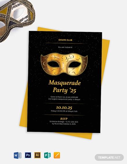 printable masquerade party invitation template