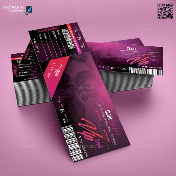 printable modern vip ticket design