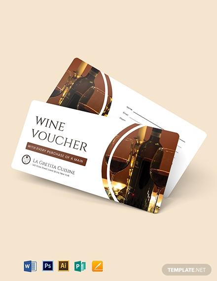 printable restaurant wine voucher example