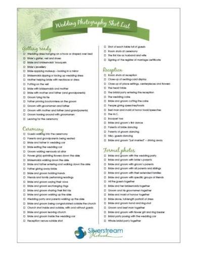 printable wedding photography shot list template