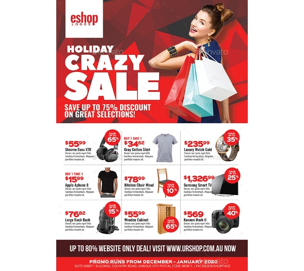 product sale and promotional sales flyer