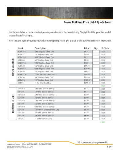 professional building quote form
