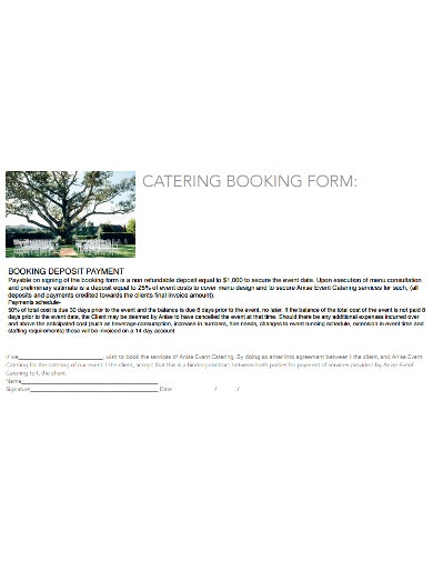 professional catering booking form