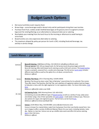 professional catering budgeting