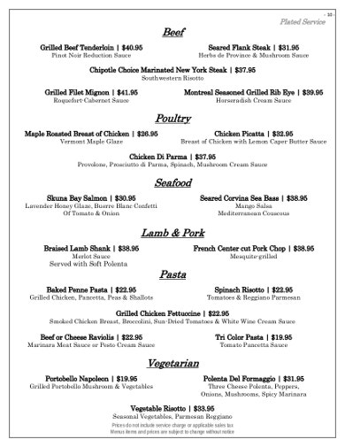 professional catering price list