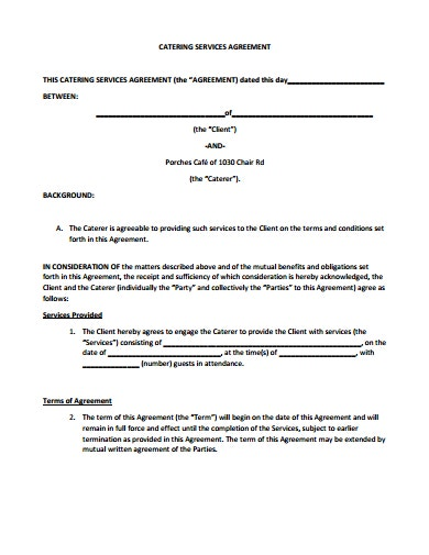 professional catering service agreement template