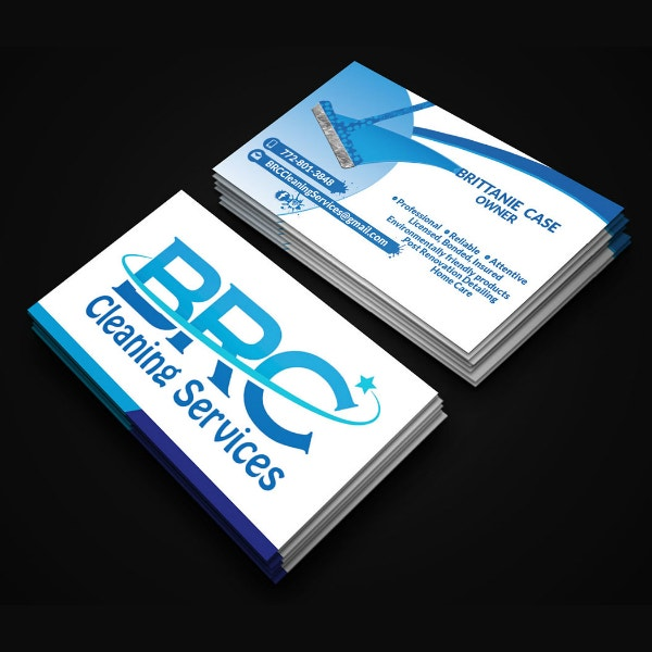 professional cleaning business card format