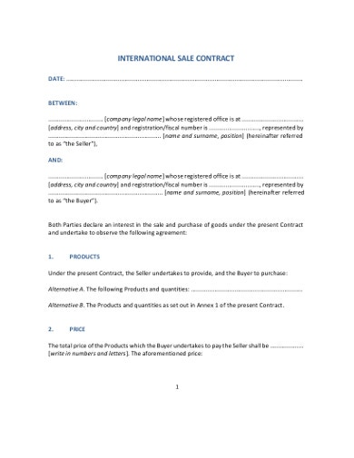 professional sale contract template