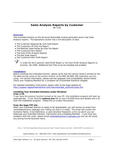 professional sales analysis report