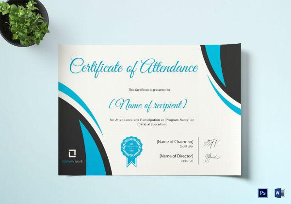 program attendance certificate template