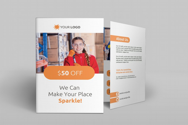 promotional cleaning services bi fold brochure