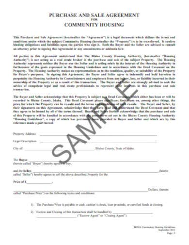 purchase and sale agreement for community