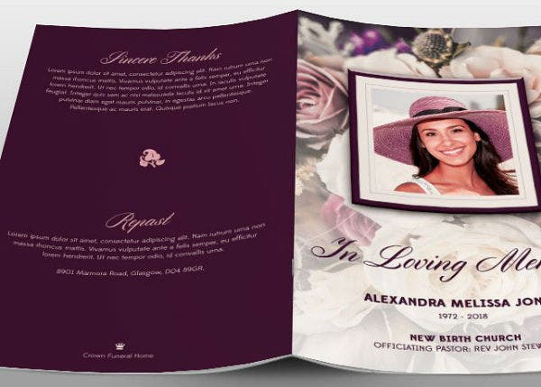 purple floral funeral program brochure template