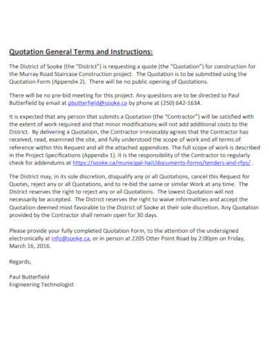 quotation general terms conditions